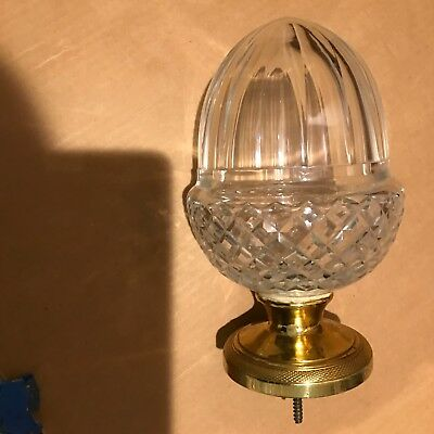 Cut Glass and Brass Newel Staircase Post Acorn Finial
