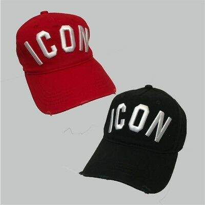 fbca505a1 DSQUARED ICON BLACK/RED Snapback Baseball Cap ONE SIZE Men and women Unisex