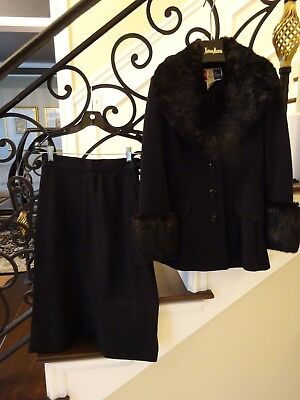 Vintage Black  Lilli Ann Real Fur Trimmed 2 Piece Suit $1 NO RESERVE GORGEOUS!!!