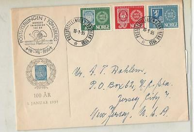 Norway, Postage Stamp, #337-339 Used Set on Cover, 1955 To Jersey City