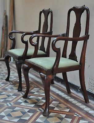 Antique Pair Queen Anne Style Solid Mahogany Carver Chairs. Lovely Patination.