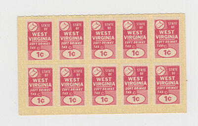 West Virginia State Revenue Stamps * Soft Drink Tax Pane of 10  MNH