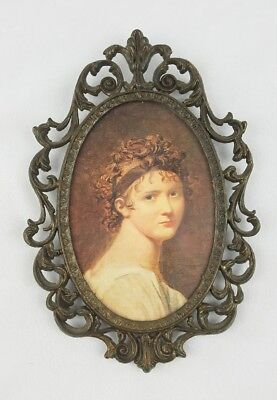 Vintage brass ornate oval woman lady picture frame and glass cover Italy