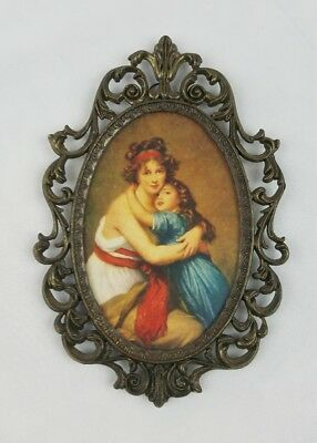 Vintage brass ornate oval picture frame and glass cover Italy mother daughter