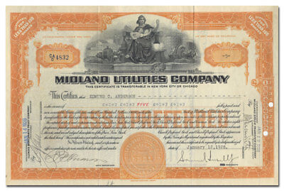 Midland Utilities Company Stock Certificate Signed by Samuel Insull, Jr.