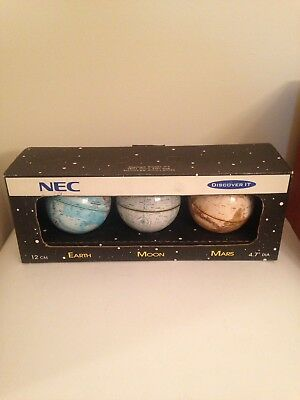 MIB Replogle Worlds Unlimited EARTH MOON MARS Globe Set Vintage Stands Booklets