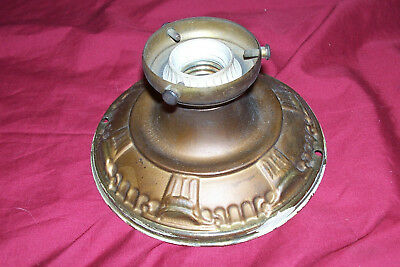 Antique Tin Ceiling Light Fixture Old Vintage Small Metal Victorian Art Deco 20s