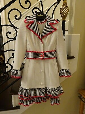 Vintage Winter White/Red Ric Rac Lilli Ann  2 Piece Dress/Jacket $1 NO RESERVE!!