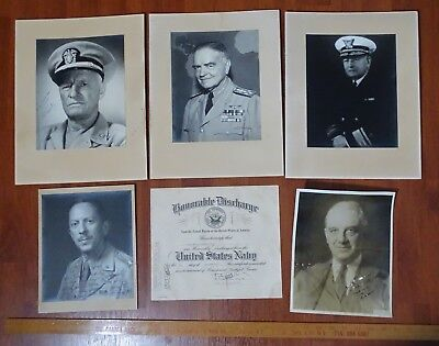 SUPER WWII US Navy Archive - Signed Photos etc - Nimitz, Halsey, & Others USN