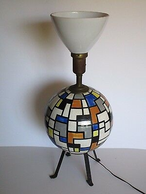 Mondrian Style Table Lamp Signed Tye 1950 Abstract Geometric Painting Sculpture