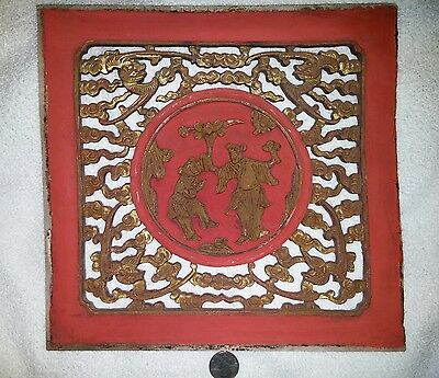 Chinese Antique wooden window golden plating hand Carved art decor潮州金漆木雕艺术品古董收藏