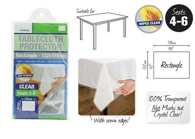 Transparent Plastic Tablecloth Cover Protector PVC Clear 132x178cm Brand New