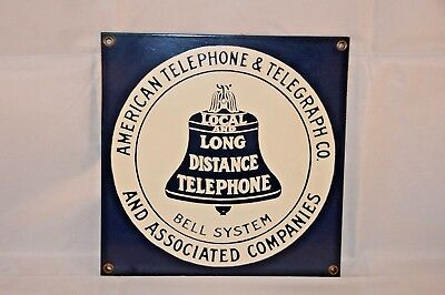 "Vintage American Telephone & Telegraph Co Porcelain Double Sided Sign 8"" x 8"""