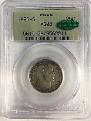 1896-S Barber Quarter PCGS VG08, CAC, lowest $ On EBay By Far, Free Shipping!