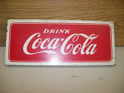 vintage 50`s 60`s drink coca cola tin store rack sign 5x12 inches original