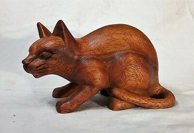 cat, hand carved wood sculpture (#cthcrchdn6)
