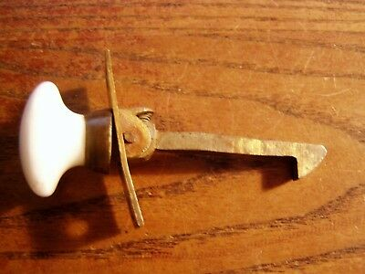 Vintage Antique Brass  Cabinet Cupboard  Spring Latch with porcelain knob