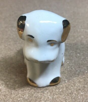 Vintage Ceramic White and Gold Hand Painted Puppy Dog Figurine