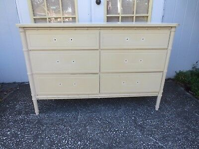Faux Bamboo Dresser Credenza 6 drawers Hollywood Regency MCM REPRO Henry Link