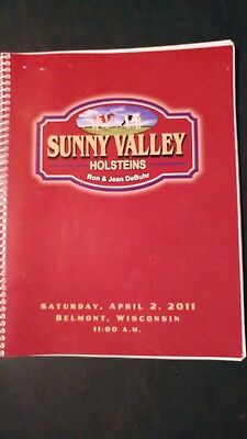 Sunny Valley Farm Holstein Dispersal Sale Catalog 2011 Belmont Wisconsin