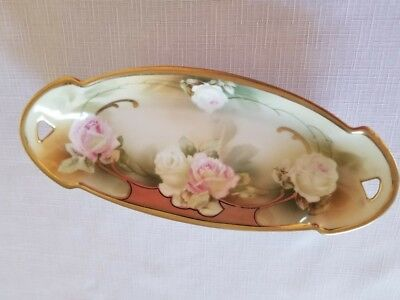 Vintage RS Germany White and Pink Roses with Gold Rimmed Accents Porcelain Dish.