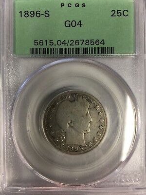 1896-S Barber Quarter, PCGS 4, Green Label, No Reserve, Free Shipping!