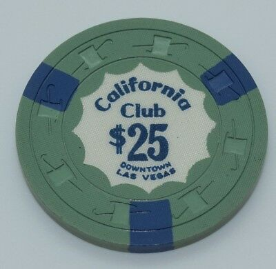 California Club $25 Casino Chip Las Vegas Nevada H&C CJ 1960's FREE SHIPPING