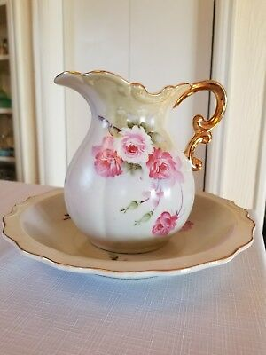 Vintage Porcelain Water Pitcher And Bowl Hand Painted Light Green/Pink Roses.