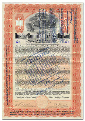 Omaha and Council Bluffs Street Railway Company Bond Certificate