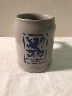 Lowenbrau German Beer Vintage 16 oz .5L Gray Ceramic Mug