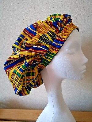 New Handmade Multi-Coloured Blue Unisex African Kente Lined Sleep/Lounge Caps