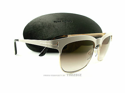 New Tom Ford Sunglasses TF437 Elena 25F Ivory Gold FT0437/S Authentic