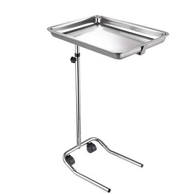 Mobile Mayo Tray Stand Height Adjust Trolley Medical Salon Equipment Tattoo