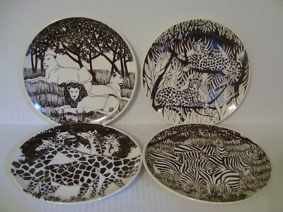 Set Of Four Vandor Imports Wild Animal Plates Zebras Giraffes Lions Tigers 8""