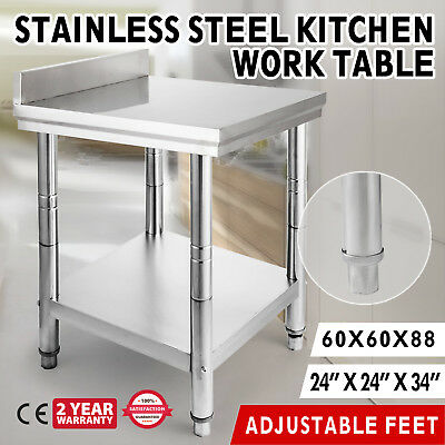 """Stainless Steel Work Prep Table 24"""" x 24"""" with Backsplash New"""