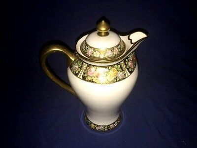 """Antique NIPPON Hand Painted Porceline 9 3/4"""" Coffee Pot ~ Beaded Gold Moriage"""