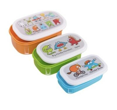 Set of 3 Monsters Design Snack Boxes