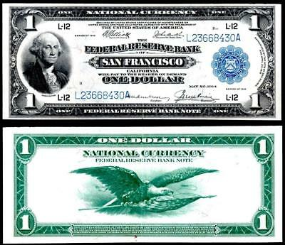 1918 $1~Large Size~National Currency Note San Francisco~ Almost Uncirculated