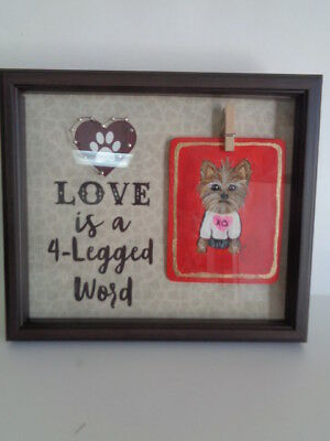 """HAND PAINTED ART~Yorkshire YORKIE """"LOVE IS A 4-LEGGED WORD"""" Shadow Box Frame"""