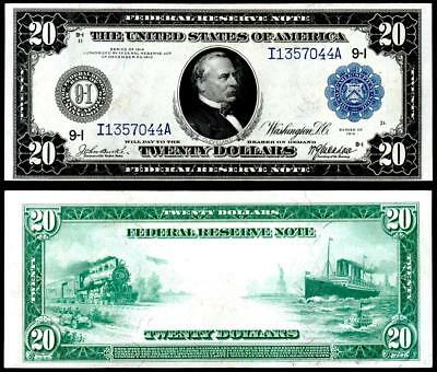1914 $20 Federal Reserve ~ Large Size Minneapolis~ Crisp Almost Uncirculated~