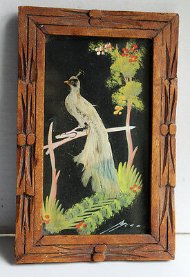 Vintage Mexican Feathercraft Picture Painting Peacock Bird Carved Wooden Frame