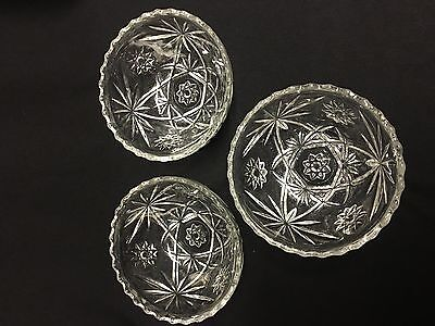 3 EAPG Anchor Hocking Early American Prescut Star of David Soup/Cereal Bowls