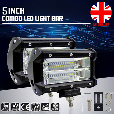 "5"" 72W Philips LED Spot Work Light Car Flood Bar Off Road Fog 4WD Jeep SUV L4U"