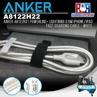 Anker A8122H22 PowerLine+ Lightning 0.9m iPhone/iPad Fast Charging Cable - White