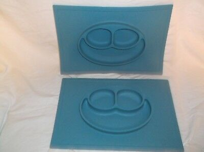 Set Of 2 Ezpz Kids Dinner Food Table Happy Mat Blue Silicone Placemat Tray Plate