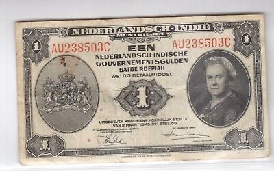 NETHERLANDS INDIES 1GULDEN 1943 P#111a  with FREE U.S.SHIPPING