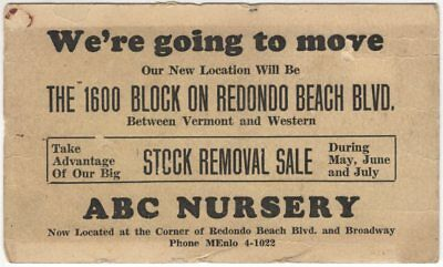 circa 1940 ABC Nursery Business Card; Gardena California, Redondo Beach Blvd