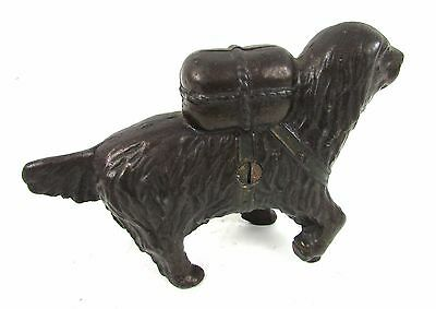 "Vintage 1901-1935 St. Bernard 3.5"" Antique Cast Iron Coin Bank by A. C. Williams"