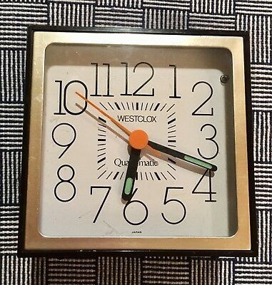 Vintage Westclock Quartzmatic Alarm Clock Working Square, Large Numbers, Classic