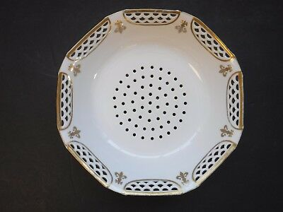 Antique Vintage French Porcelain Colander Gold Fleur de lis 8""
